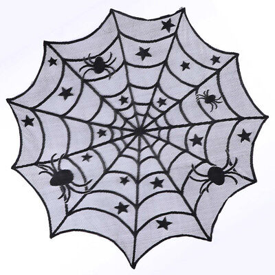 Halloween Tablecloth Spider Black Lace Bat Spider Curtain Party Decoration US - Black Lace Halloween Tablecloth