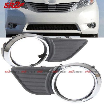 Chrome Fog Light Trim - Chrome Trim ABS Fog Light Bezel Bumper Cover fits 11-15 Toyota Sienna XLE LE