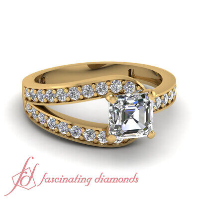 .70 Ct 18K Yellow Gold Pave Set Asscher Cut Diamond Engagement Ring GIA Certifed