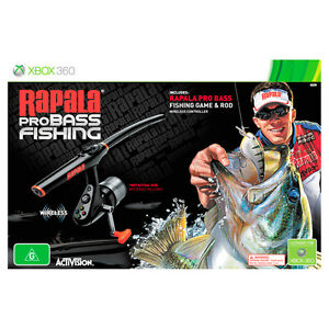 Rapala pro bass fishing rod bundle xbox 360 game aus pal for Xbox fishing games