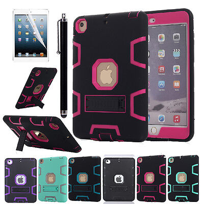 Shockproof Heavy Duty Rubber Hard Kickstand Case Cover For Apple iPad Mini