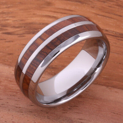 Koa Wood Tungsten Ring Double Row Wedding Ring 8mm TUR4003 8mm Double Row Band Ring