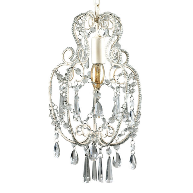 MiniSun 1 Light Crystal Chandelier in Ivory  -  16305