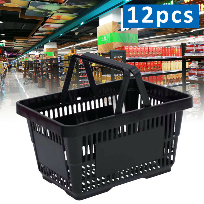 12 PACK Black Plastic Shopping Baskets Grocery Store Retail Tote Bag Durable