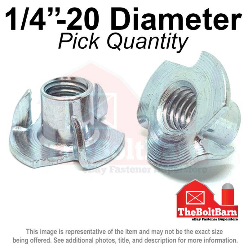 "1/4""-20 Steel 3 Prong T Nuts Tee Zinc Plated Coarse Thread (Pick Quantity)"