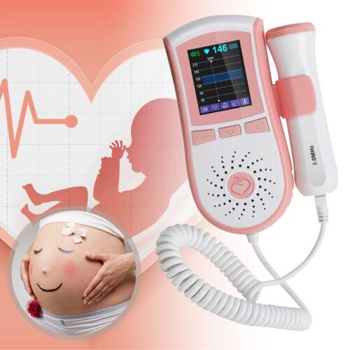 Portable Pocket Fetal Doppler Baby Heart Monitor Backlight LCD GEL 3MHz Probe US