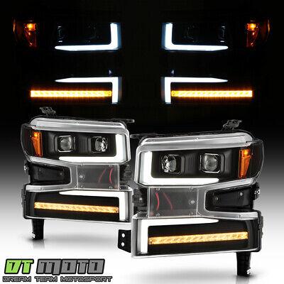 2019-2020 Chevy Silverado 1500 Black LED DRL Tube Sequential Signal Headlights