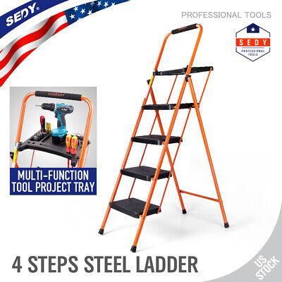 60 Heavy Duty Steel Folding 4-step Ladder W Tool Project Tray Non-slip 331 Lbs