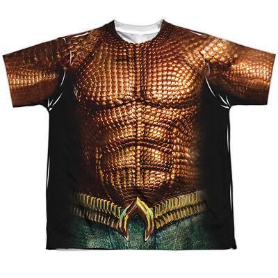 Authentic Aquaman Movie Uniform Costume Boys YOUTH Sublimation Front T-shirt top