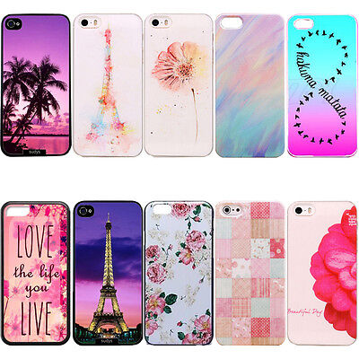 New Flower Pattern Rigid Plastic Hard Back Case Cover For Iphone 7 6 6S Plus