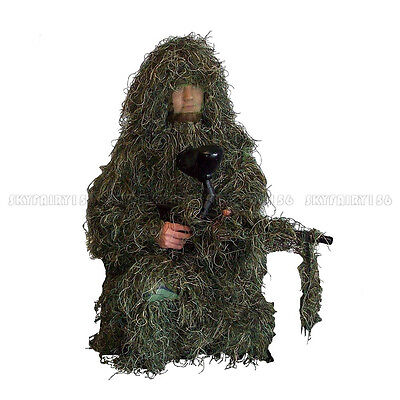 Ghillie Suit Sniper Camo 3D Clothing Woodland Camouflage Forest Hunting 5-Piece