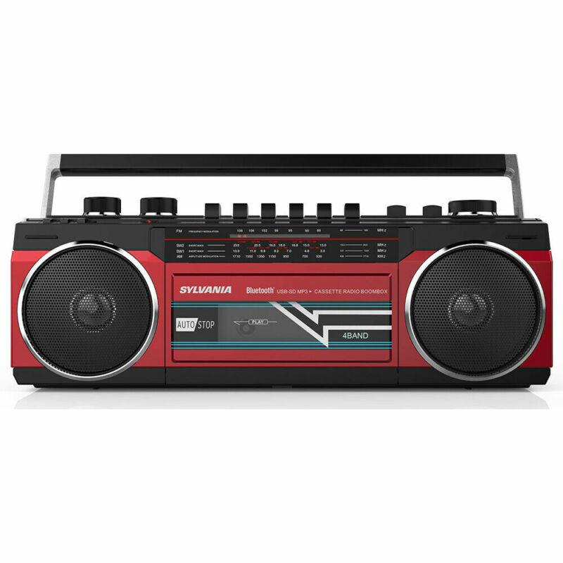 SYLVANIA Bluetooth Cassette Radio Boombox Portable Speaker  - Red
