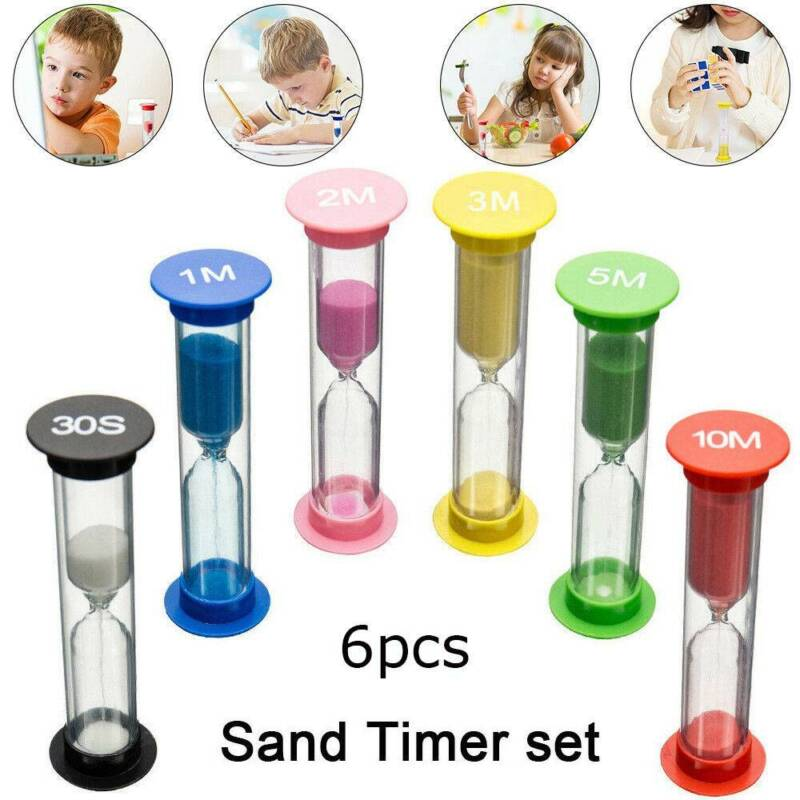 6PC Sand Timer Colored Hourglass Timers Clock for Kids Game