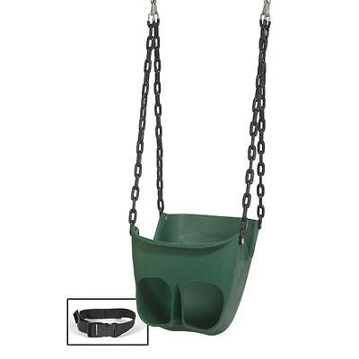 Green Commercial Grade HDPE Adjustable Belt Toddler Swing Playground Equipment