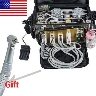 Usa Portable Dental Turbine Unit 4 Hole Air Compressor Suction 3 Way Syringe Bag