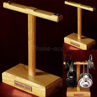 Wooden Headphone Holder Earphone Double Stand Hanger Headset Display Shelf Rack