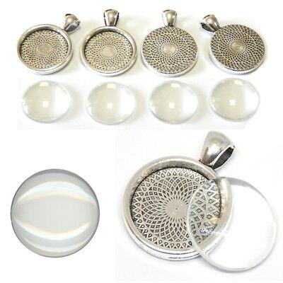 Glas Runder Anhänger (6 SET Cabochon Klar Glas 20mm Silber Fassungen Rund Anhänger Medaillons DIY)