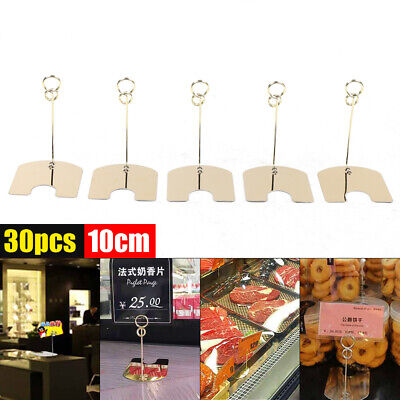 30pcs Table Sign Holder Display Clip Label Price Name Card Tag Stand W Base Usa
