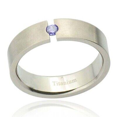 Titanium Round Purple Cubic Zirconia Tension Set Comfort Fit Men's Wedding Band Comfort Fit Solitaire Setting
