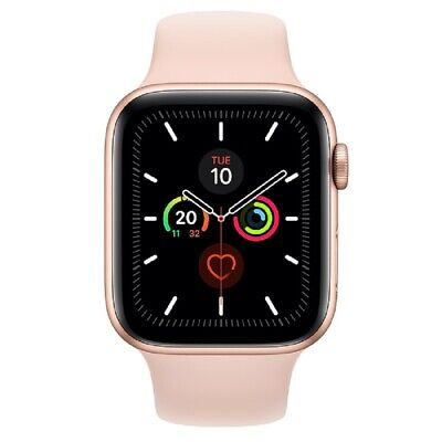 NUEVO Apple Watch Series 5 (GPS) 44mm Dorado Aluminum Caja Rosa Sport Band MWVE2