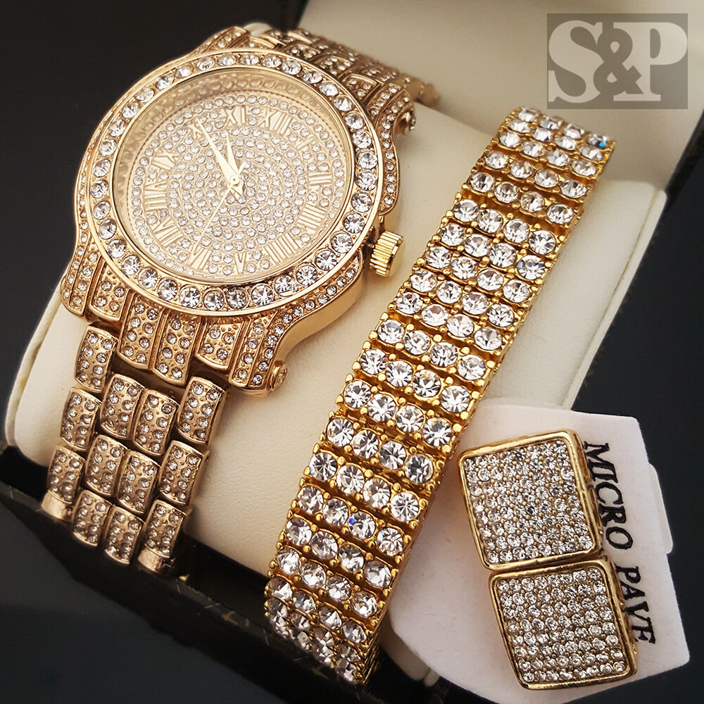 Hip Hop Earrings: Men Hip Hop Iced Out Gold PT Simulated Diamond WATCH