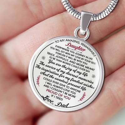 To My Amazing Remarkable Daughter Necklace Gift from Father - Great for Birthday ()