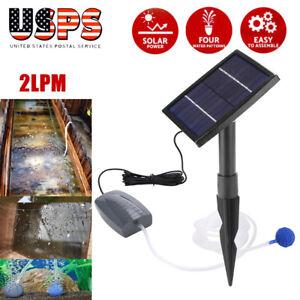 NEW Portable Solar Powered Oxygenator Pond Water Oxygen Pump Air Stone Aerator