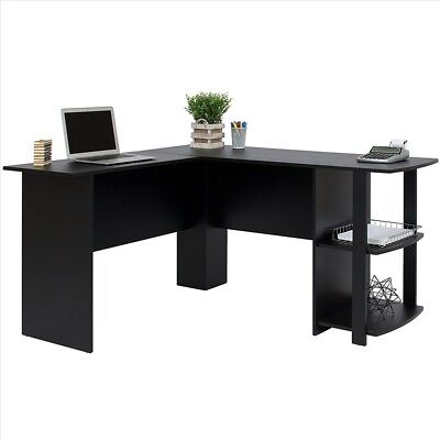 FCH L-Shaped Corner Computer Desk Home Office Desk Furniture Black