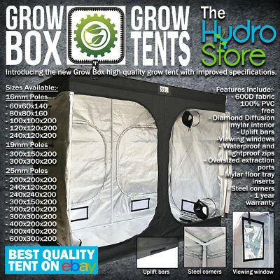 GROW BOX GROW TENTS ALL SIZES 16MM 19MM AND 25MM POLES HYDROPONIC GROW