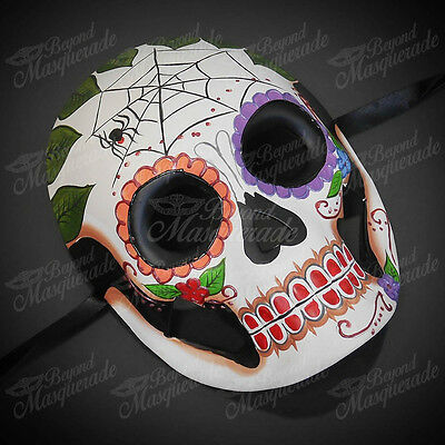 Womens Day of the Dead Skeleton Skull Halloween Masquerade Mask Spider Web