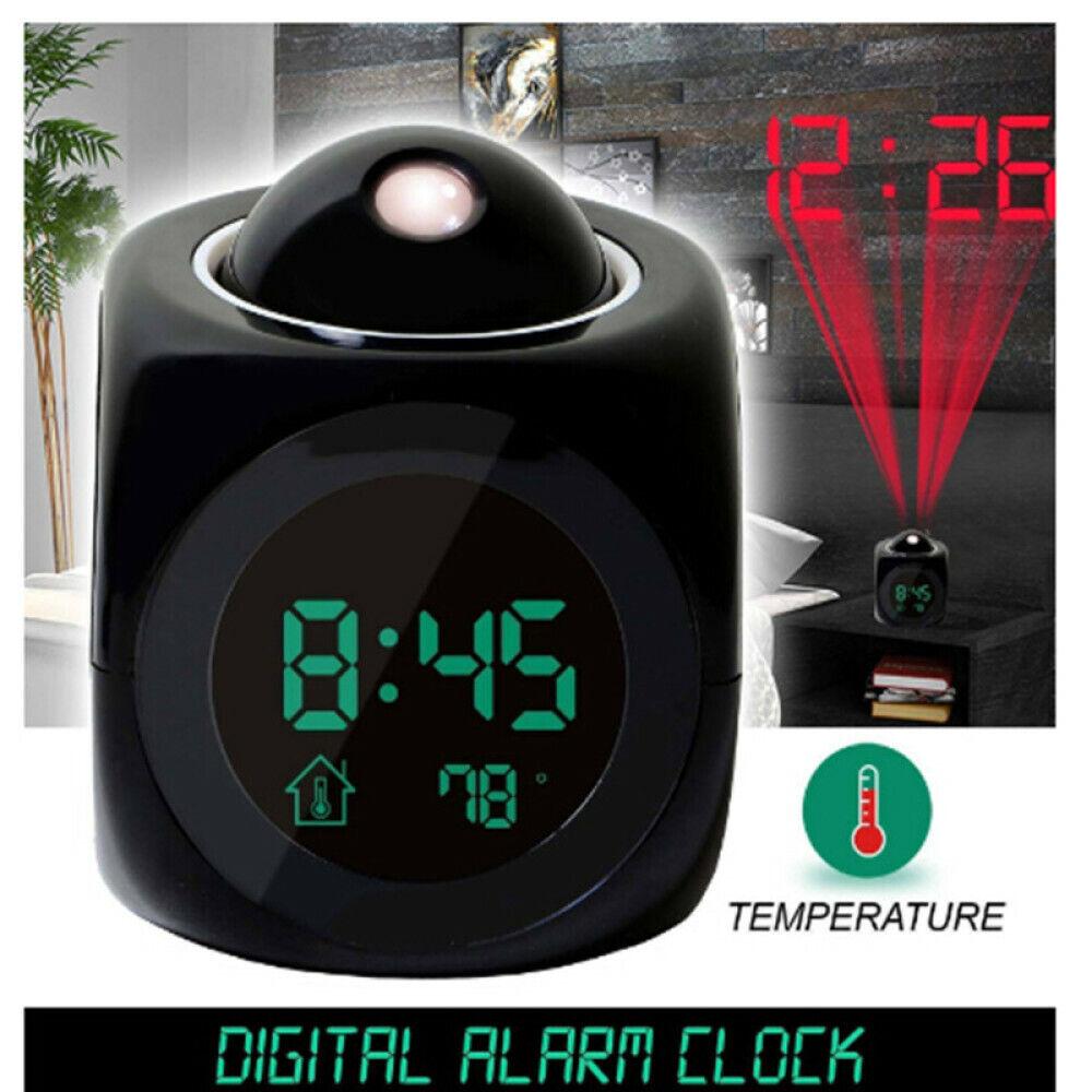 Digital LCD Voice Talking Multifunction LED Projection Alarm Clock Temperature