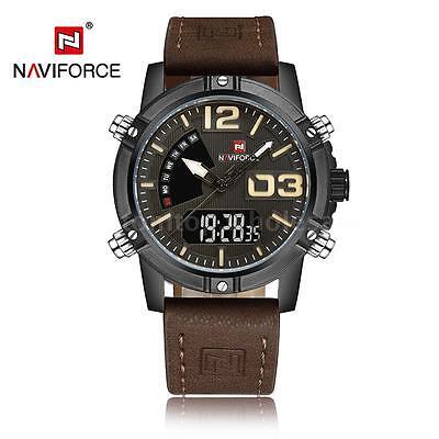 NAVIFORCE New Dual Display Quartz Digital Men Sport Watch Leather Strap US Stock