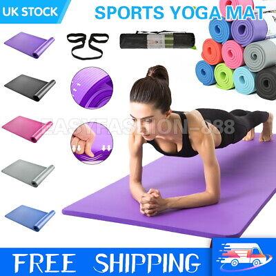 11mm Extra Thick Yoga Mat Non-Slip Exercise Pilates Gym Picnic Carry Straps Bag