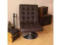 Luxurious Designer Brown Faux Leather Swivel Office Chair