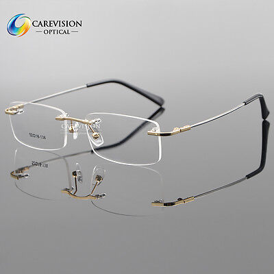 (Titanium Alloy Rimless Flexible Eyeglass Frame Optical Hinged Glasses RX Able)
