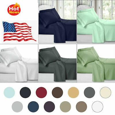King size 6/4 Piece Comfort 1800 Thread Count Soft Deep Pocket Bed Sheet Set HE