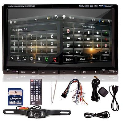 "7"" HD Touch Screen Double 2 DIN Car GPS Stereo DVD Player Bluetooth Radio+Camera on Rummage"