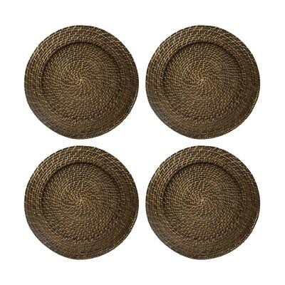 Set of 4 Round Rattan Chargers Decorative Service Plates Holder party Dinner NEW