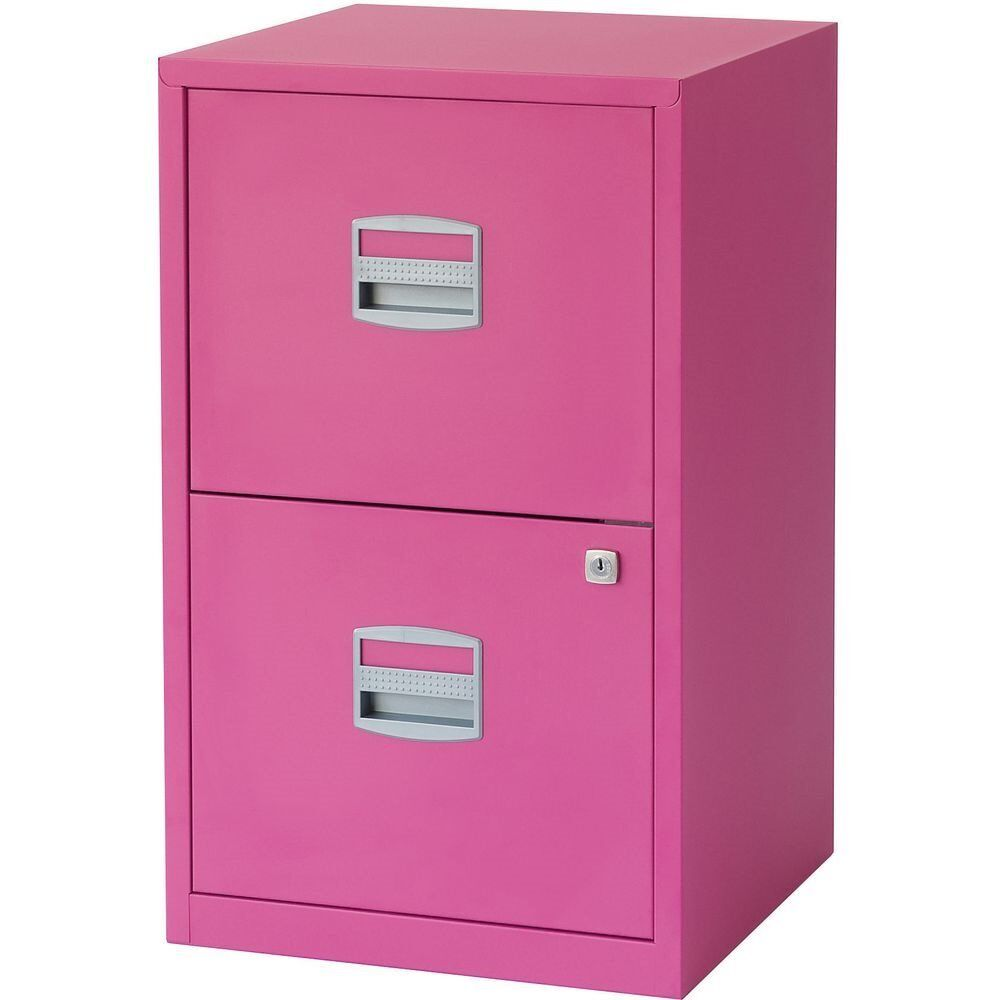 Fuchsia pink 2 drawer lockable steel filing cabinet from ...