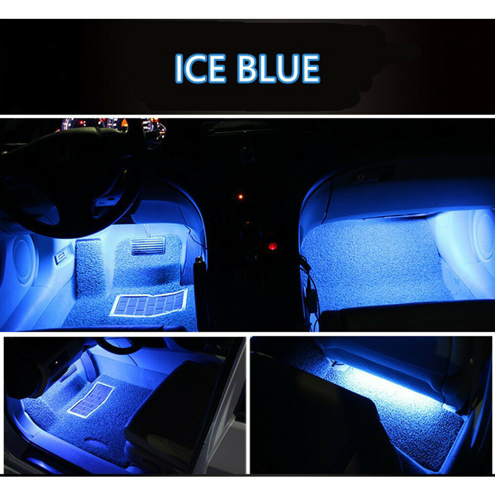 Car Parts - 4x Ice Blue 9LED Charger Interior Light Accessories Car SUV Floor Decorative Set
