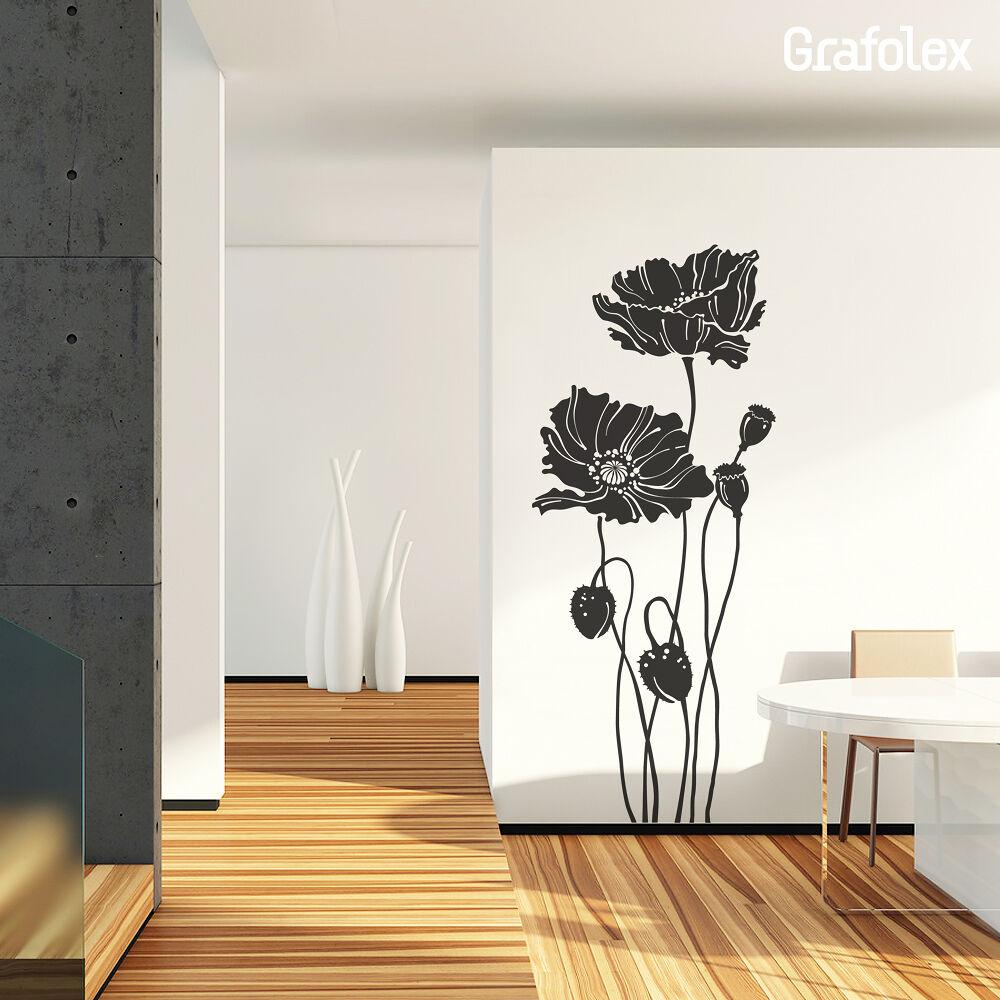 wandtattoo mohnblumen mohn blumen wandsticker aufkleber wand deko blume w310b eur 24 90. Black Bedroom Furniture Sets. Home Design Ideas