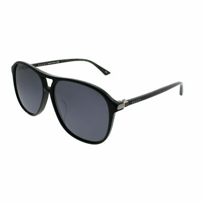 Gucci GG0016SA 001 Asian Fit Black Plastic Aviator Sunglasses Silver Mirror (Asian Fit Aviators)