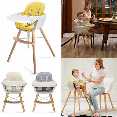 Wooden High Chair Baby Toddlers 2 in 1 Convertible Feeding Highchair W/ Cushion