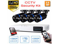 Full HD 1080P CCTV Security Camera Kit. 1080P 1TB DVR. 4x1080P 2.0MP Cameras. Remote Viewing