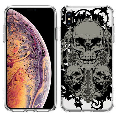For Apple iPhone XS MAX Black Gothic Cross Skull Phone Protector Cover Case Black Skull Protector Case