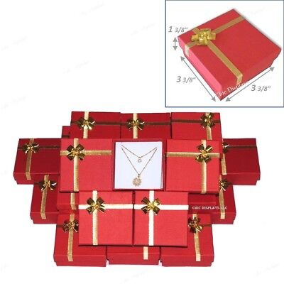 Lot Of 48 Red Jewelry Boxes Wbow Tie Earring Box Pendant Boxes Wholesale Boxes