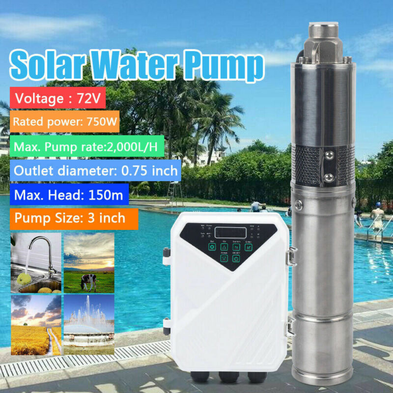 """3"""" DC Screw Solar Water Bore Pump 750W Submersible Well Garden Pond 150M 2000L/H"""