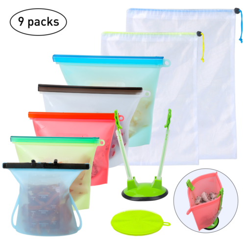 Reusable Silicone Food Storage Bags Set Seal Food Preservati