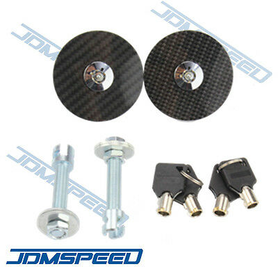 1 Carbon Fiber Hood - New Universal Racing Carbon Fiber Mount Bonnet Hood Latch Pin Key Locking Kit