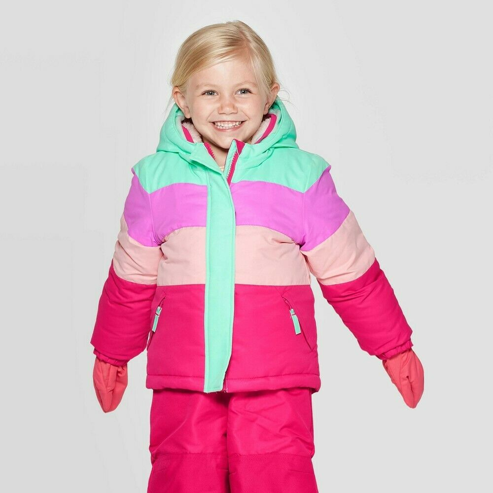 Toddler Girls Pieced Tech-Fashion Ski-Jacket with built in Mittens -Cat&Jack 12M Baby